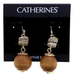 3/$20 Catherines gold and wood dangle earrings